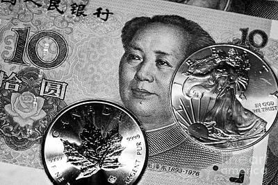 Chinese Yuan Renminbi Banknotes With Silver 1oz Bullion Coins Art Print