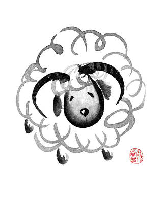 Painting - Chinese Zodiac For Year Of The Goat by Oiyee At Oystudio
