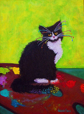 Painting - Ching - The Studio Cat by Valerie Aune