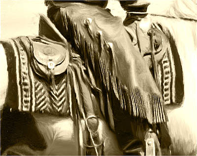 Working Cowboy Photograph - Chinks Sepia by Susie Fisher