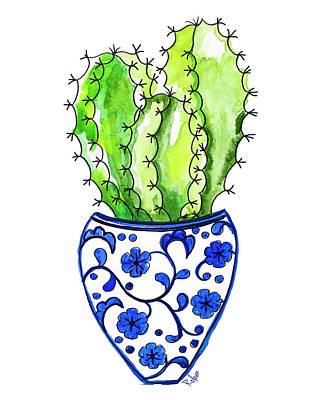 Chinoiserie Cactus No3 Art Print