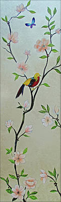 Monochrome Landscapes - Chinoiserie - Magnolias and Birds #1 by Shadia Derbyshire