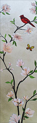 Pheasant Wall Art - Painting - Chinoiserie - Magnolias And Birds #3 by Shadia Derbyshire