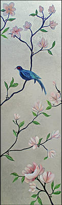 All Black On Trend - Chinoiserie - Magnolias and Birds #4 by Shadia Derbyshire