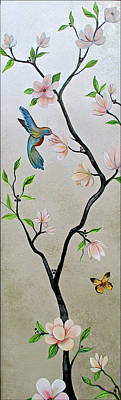 Animal Surreal - Chinoiserie - Magnolias and Birds #5 by Shadia Derbyshire