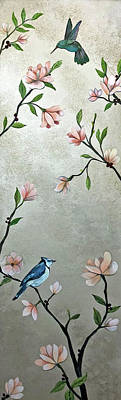 Monochrome Landscapes - Chinoiserie - Magnolias and Birds by Shadia Derbyshire