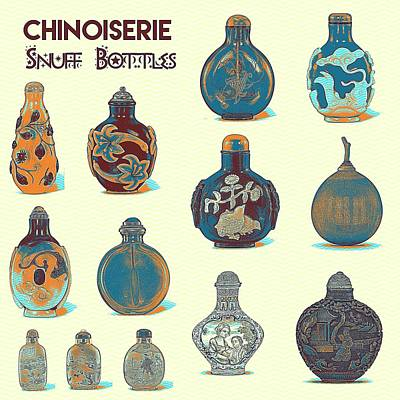 Delicately Painting - Chinoiserie Snuff Bottles Art by Celestial Images