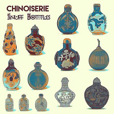 Delicately Painting - Chinoiserie Snuff Bottles Poster by Celestial Images