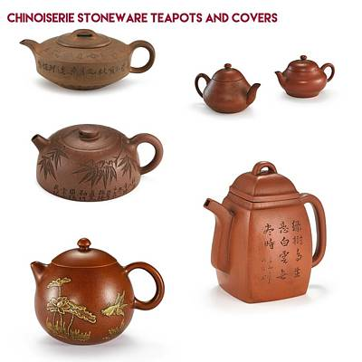 History Painting - Chinoiserie Stoneware Teapots And Covers by Celestial Images