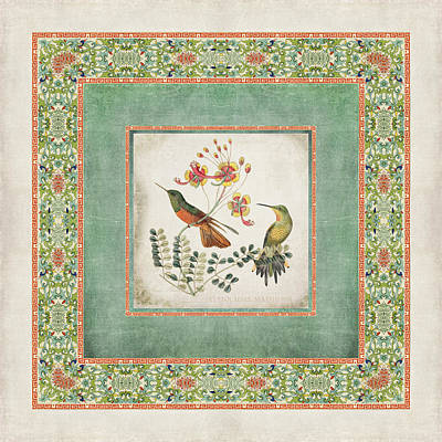 Old Home Digital Art - Chinoiserie Vintage Hummingbirds N Flowers 1 by Audrey Jeanne Roberts