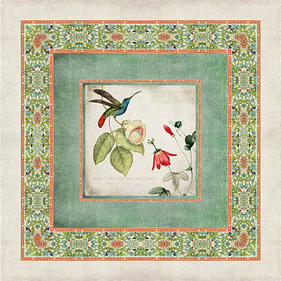 Botanicals Mixed Media - Chinoiserie Vintage Hummingbirds N Flowers 2 by Audrey Jeanne Roberts