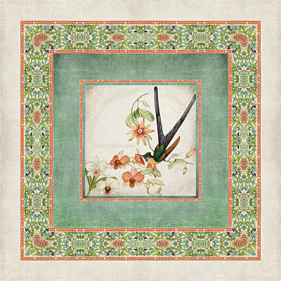 Persimmon Digital Art - Chinoiserie Vintage Hummingbirds N Flowers 3 by Audrey Jeanne Roberts