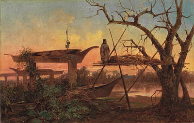Burial Grounds Painting - Chinook Burial Grounds by John Mix Stanley