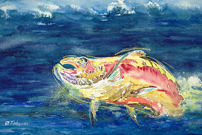 Medium Blue Painting - Chinook Salmon by Tanya L Haynes - Printscapes