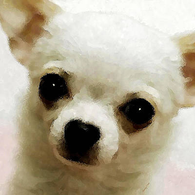 Watercolor Pet Portraits Mixed Media - Chihuahua by Stacey Chiew