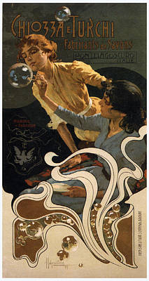 Mixed Media Royalty Free Images - Chiozza E Turchi - Woman Blowing Soap Bubbles - Vintage Advertising Poster Royalty-Free Image by Studio Grafiikka