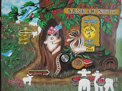 Painting -   Believers Bank Of Bitcoins And Nuts N Apples by Sigrid Tune