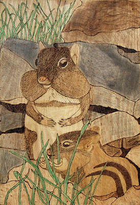 Pyrography - Chipmunk Lunch by David Yocum