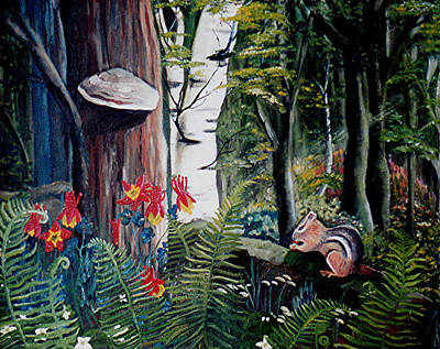 Chipmunk On A Log Art Print