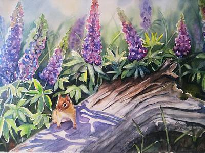 Chipmunk On Log With Lupine Art Print by Patricia Pushaw