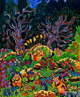 Wildlife Painting - Chipmunkery by Cathy Carey