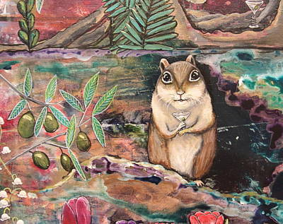 Wall Art - Painting - Chippy With Martini by Carol Iyer