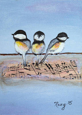 Chirpy Chickadees Art Print by Roxy Rich