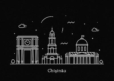 Drawing - Chisinau Skyline Travel Poster by Inspirowl Design