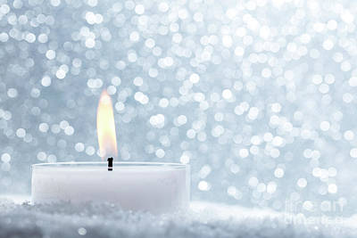 December Photograph - Chistmas Candle Glowing On Glitter Background. by Michal Bednarek