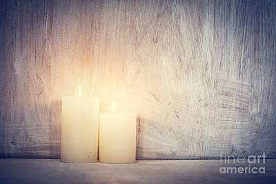 Eve Photograph - Chistmas Candle Glowing On Rustic Wooden Wall Background. by Michal Bednarek