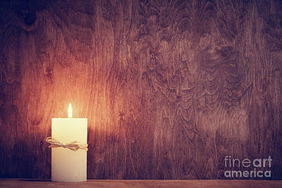 Candles Photograph - Chistmas Candle Glowing On Wooden Wall Background. by Michal Bednarek