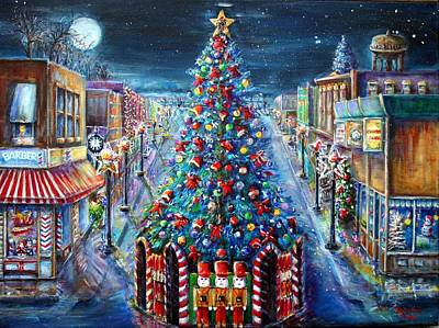 Painting - Chistmas Tree Lighting  2015 People Choice Awarded  by Bernadette Krupa