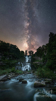 Chittenango Falls Under The Milky Way Art Print by Michael Ver Sprill