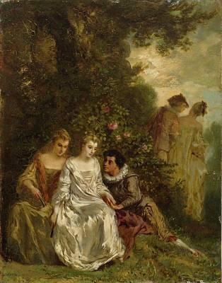 Park Scene Painting - Chivalric Scene In A Park. by Menn