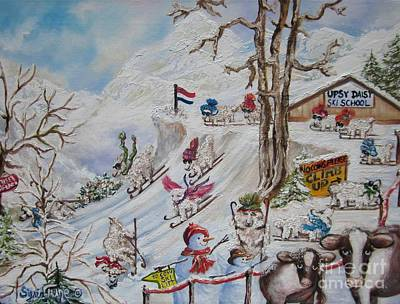 Painting - Tutelage Trumped Tuition At Upsy Daisy Ski School.              Chloe The Flying Lamb Productions  by Sigrid Tune