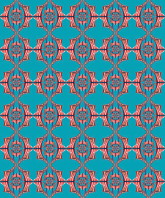 Digital Art - Chock A Block Dark Turquoise by Deborah Runham
