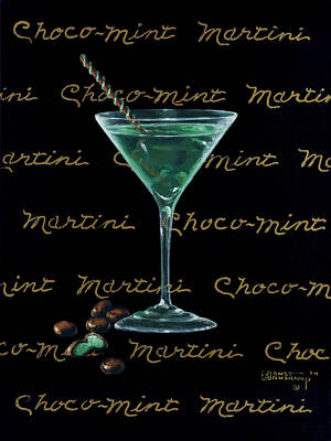 Stemware Painting - Choco-mint Martini by Janet  Kruskamp
