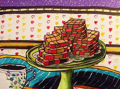 Painting - Chocolate And Cherry Checkerboard Cookies by John Williams