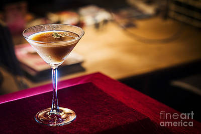 Martini Royalty-Free and Rights-Managed Images - Chocolate And Cream Martini In Bar At Night by Jacek Malipan