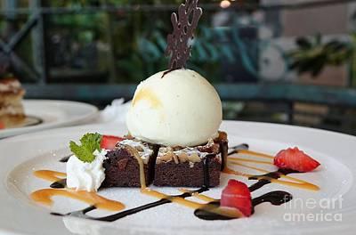 Photograph - Chocolate Brownie With Ice Cream by Yali Shi