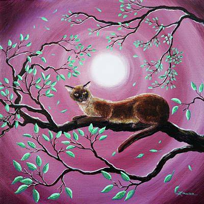 Rose Branch Painting - Chocolate Burmese Cat In Dancing Leaves by Laura Iverson