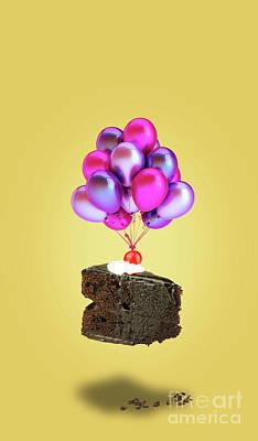 Chocolate Cherry Cake With Balloons Art Print by Kira Yan