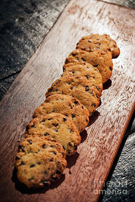 Photograph - Chocolate Chip Cookie Biscuits On Wooden Board by Jacek Malipan
