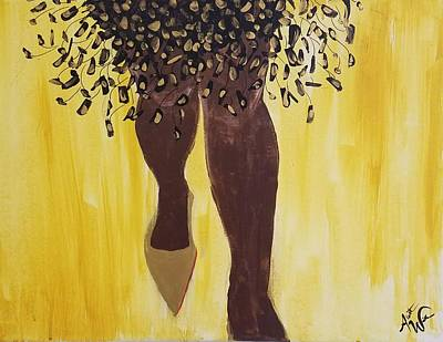 Natural Hair Painting - Chocolate Cinderella by Autumn Leaves Art