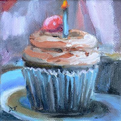 Painting - Chocolate Cupcake With Birthday Candle And Cherry On Top by Donna Tuten