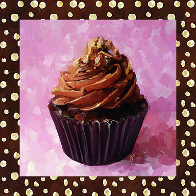 Painting - Chocolate Cupcake With Border by Jai Johnson