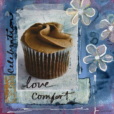 Mixed Media Rights Managed Images - Chocolate Cupcake Love Royalty-Free Image by Linda Woods