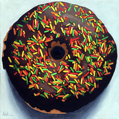 Chocolate Donut And Sprinkles Large Painting Art Print by Linda Apple