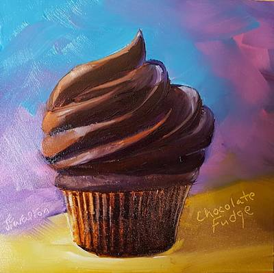 Painting - Chocolate Fudge Cupcake by Judy Fischer Walton