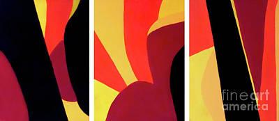 Espresso Painting - Chocolate Geometry Triptych 1 by Jilian Cramb - AMothersFineArt